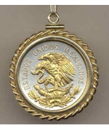 "Mexican 10 centavo ""Eagle"" (quarter size) coin pendant with 14k chain - $126.00"