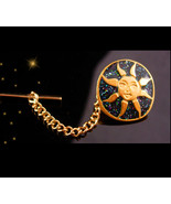 Sun & stars Tie tack - Gold plate vintage celestial gift -  spiritual we... - $65.00