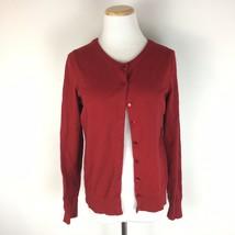 Talbots Women's Dark Red Classic Pima Cotton Cardigan Sweater Size Medium  - $19.79