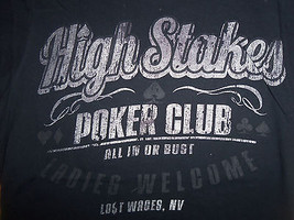 """High Stakes Poker Club """"Ladies Welcome"""" Navy Graphic Print T Shirt - S - $17.17"""