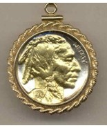 U.S. Indian head nickel  gold on silver coin pendant necklace - $102.00
