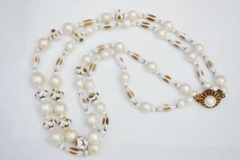 Vintage fun white&gold plastic bead necklace 1950s fancy clasp double st... - $22.76