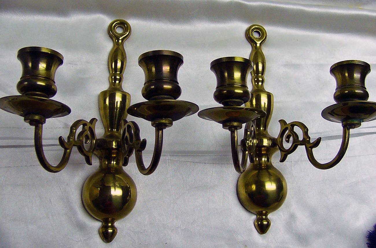 Colonial Wall Sconces Candles : Pair Vintage Colonial Brass Wall Candle Sconces - Candle Holders & Accessories