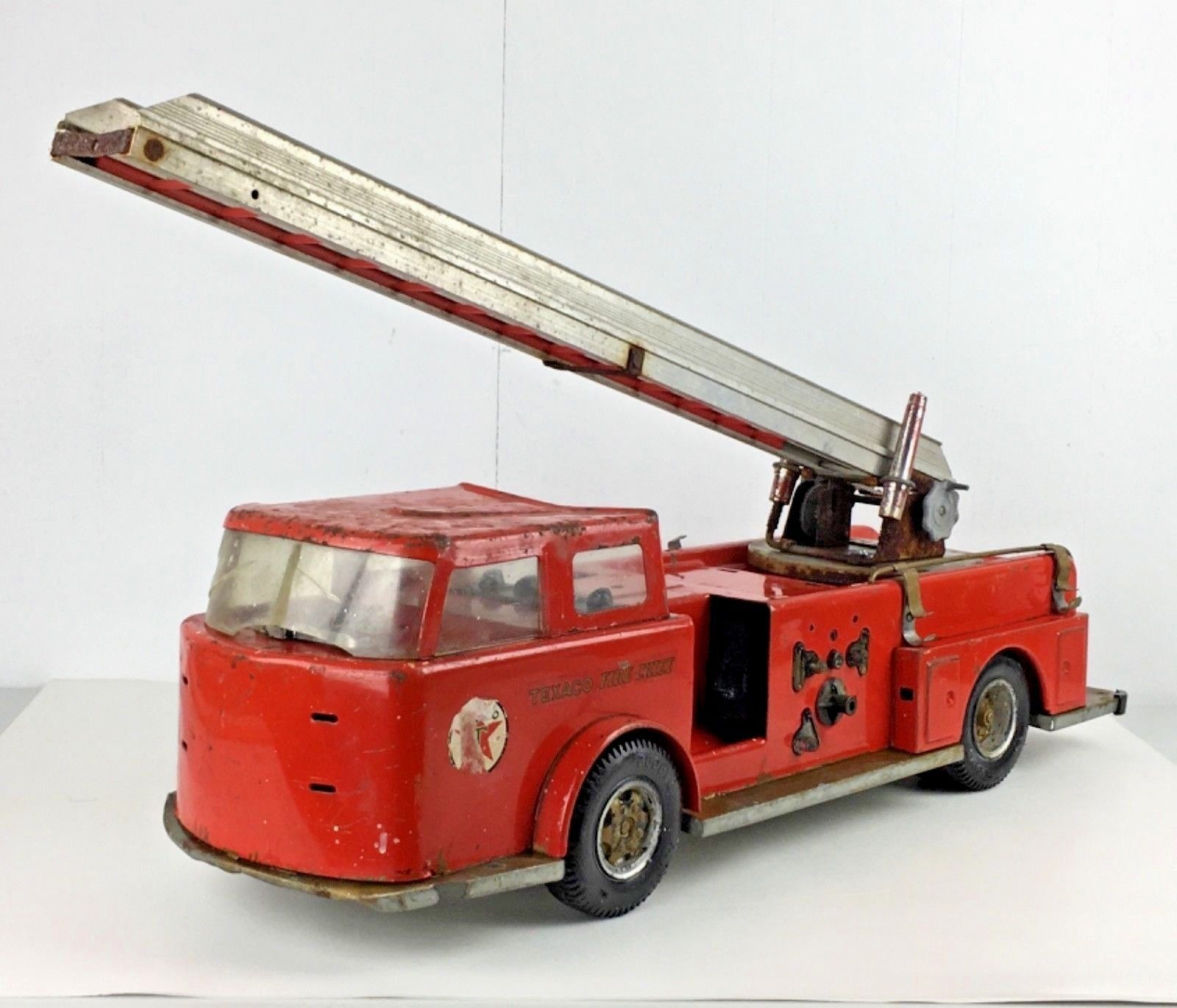 Texaco Fire Chief Fire Engine Truck Metal Toy Red Ladder Advertising Vtg Gift