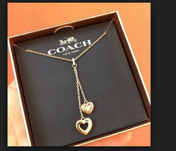 COACH 2 HEART DROP Necklace Rose Gold F27144 w gift Box NWT - $59.40
