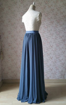 Women DUSTY BLUE Chiffon Maxi Skirt High Waist Maxi Chiffon Wedding Skirt image 7