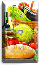 Vegetables Basket Fresh Bread Olive Oil Phone Telephone Plate Kitchen Home Decor - $10.79