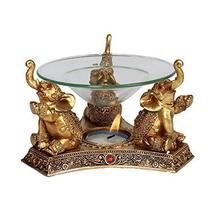 Pacific Giftware Golden Triple Elephant Oil Burner Home Decor - $22.99