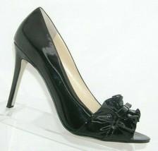 Enzo Angiolini 'Mielee' black patent leather peep toe ruffle slip on hee... - $37.04