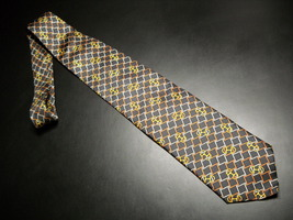 Krizia Uomo Neck Tie Italian Geometric Designs Chocolate Brown Golds Blu... - $14.99