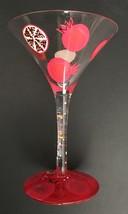 Lolita Pomegranate Martini Glass Painted Glassware Mixed Drink Recipe Ba... - $14.84