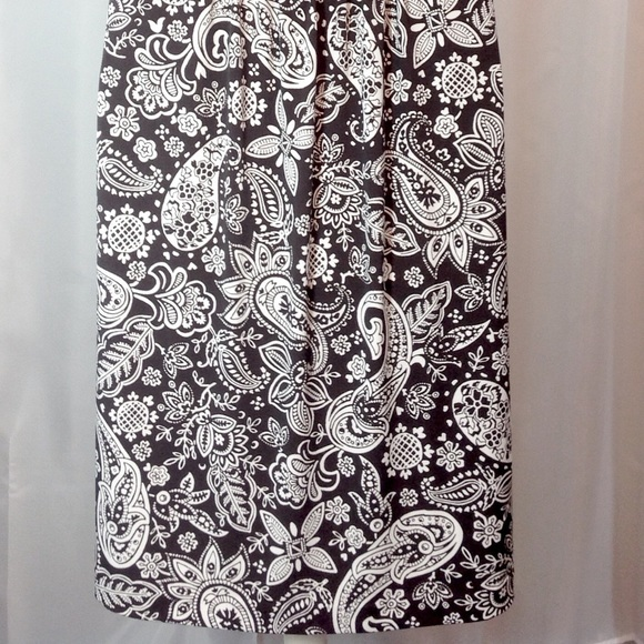 LOFT Black & White Paisley Dress Small EUC