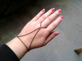 Harness Slave Bracelet Antique Brass Hand Chain Boho Slave Bracelet Ring... - $42.00