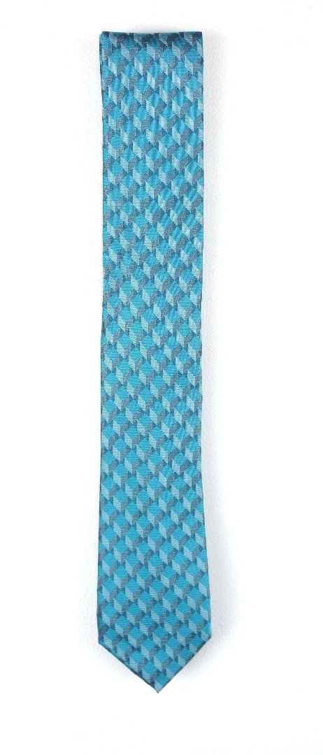 NEW MENS ALFANI RED LABEL AQUA BLUE MOORE GEOMETRIC 100% SILK NECK TIE