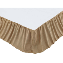 "Burlap Natural Ruffled Bed Skirt for Full/Queen - 60x80x16"" - VHC Brands"