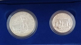 1986 100th Anniversary Statue of Liberty Silver PR 2-Coin Set $1/50C Box... - $28.91