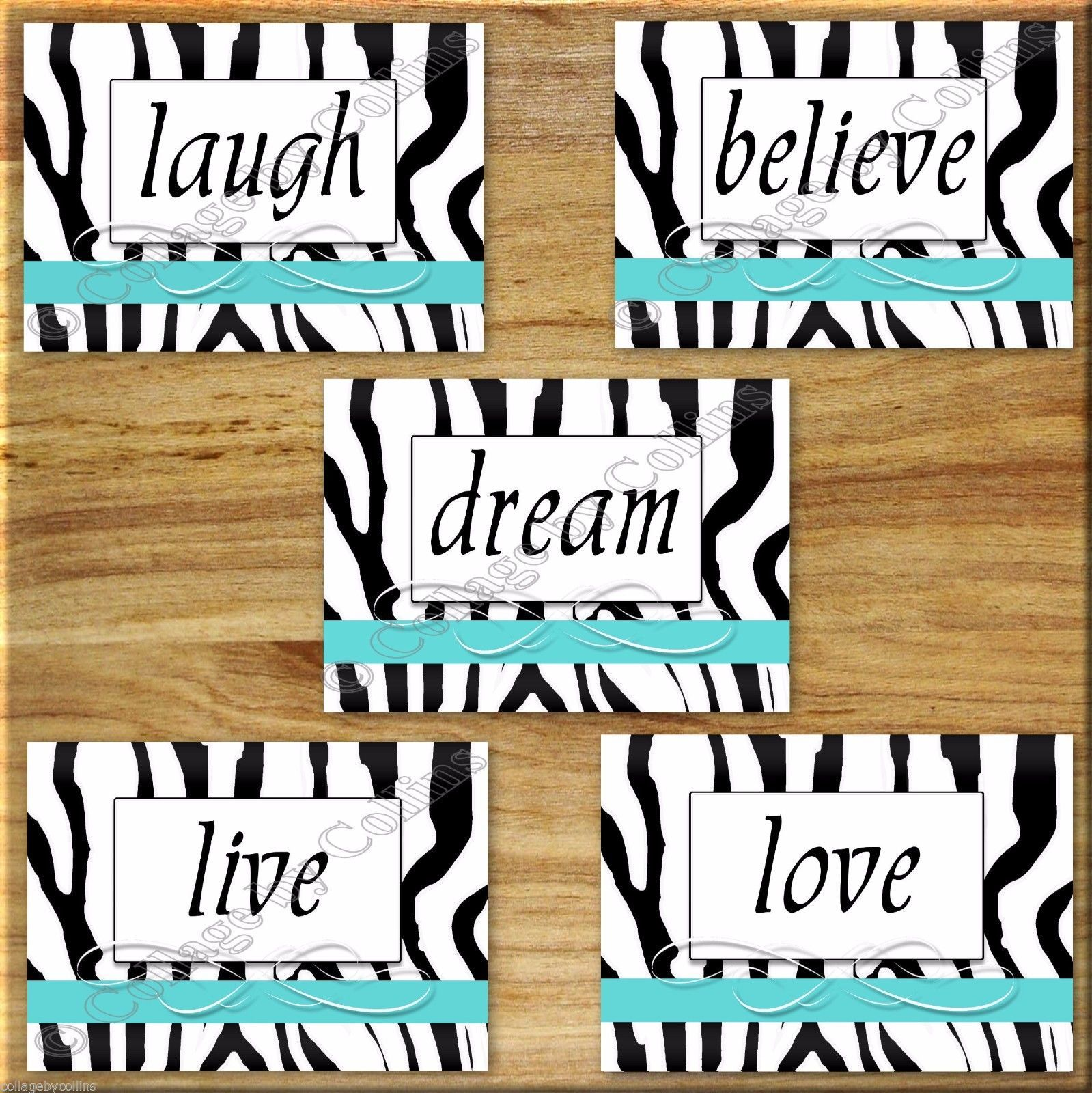 Primary image for Zebra Turquoise Wall Art Print Picture Decor Inspirational Live Laugh Love Quote