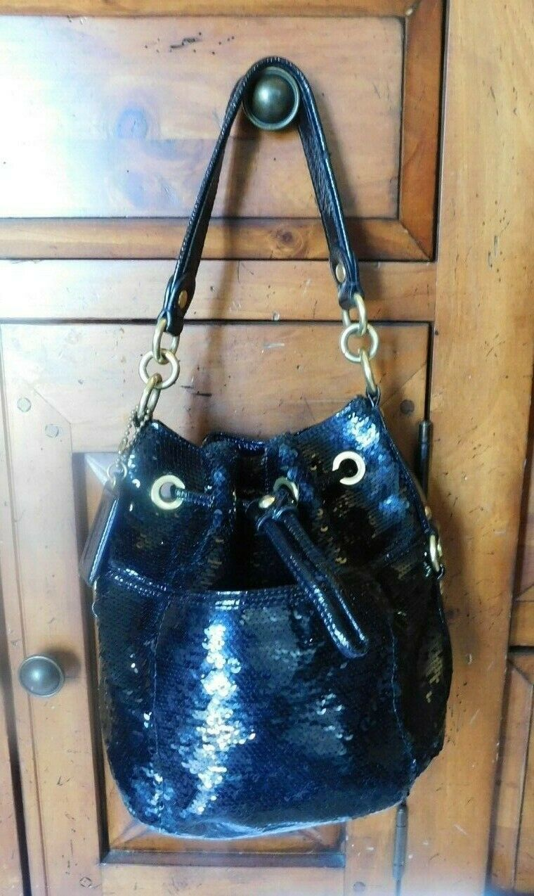 Coach Poppy Black Sequins Drawstring  Bag 17906 image 7