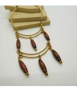 Vintage Gold Tone Brown Wood Bead Fringe Egyptian Style Bib Drop Necklac... - $21.77