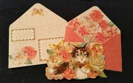 1-Punch Studio gold embossed  KITTEN/pink roses diecut CARD- WOW ENVELOP... - $3.15