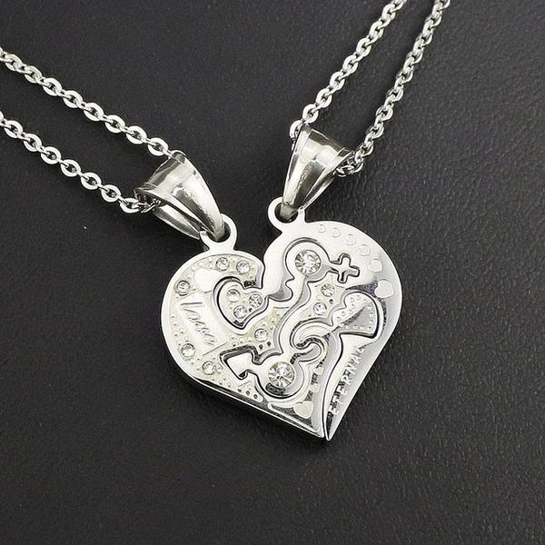 Beautiful, Couples, Stainless Steel Two Piece Interlocking Heart Pendant - Rhine