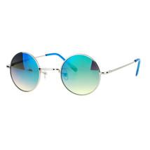 Small Round Circle Frame Sunglasses Metal Spring Hinge Mirror Lens - $8.95