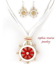 Adorable pendant necklace set red ship helm white cord multistrand nautical - $17.23