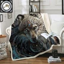 Betterhomeplus Wolf Warrior by Sunima Art Velvet Plush Throw Blanket She... - €43,92 EUR
