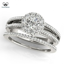 Women's Engagement Ring Set In Round Cut Diamond 14k White Gold Sterling Silver - $95.25