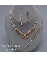 Brown crystals 3 pc evening necklace set brides... - $17.81