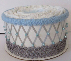 Light Blue , Grey and White Elephant Themed Baby Shower 1 Tier Diaper Cake - $19.00