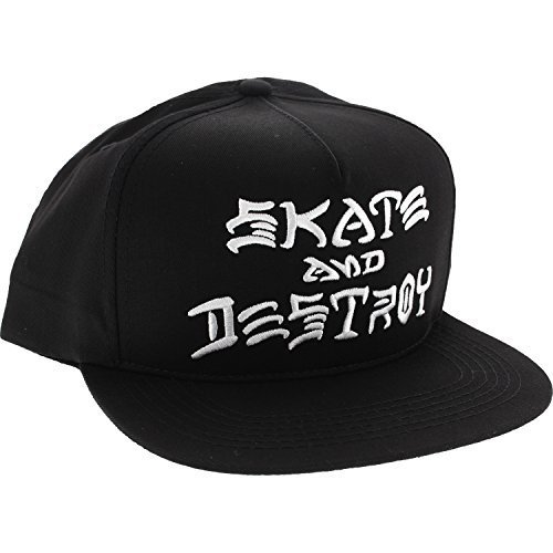Thrasher Magazine Skate and Destroy Black / White Snapback Hat - Adjustable
