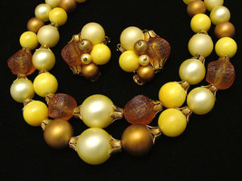 Vintage Double Strand Beaded Necklace & Earrings Set w/ Molded Lucite Beads - $19.95