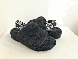 UGG FLUFF YEAH SLIDE BLACK MOCASSIN SLIP ON SANDAL US 6 / EU 37 / UK 4 - €91,86 EUR