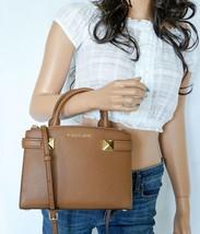 Michael Kors Karla East West Small Satchel Leather Shoulder Bag Brown(Luggage) - $88.98