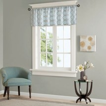 Luxury Blue Faux Silk Embroidered Rod Pocket Top Window Valance - $37.99