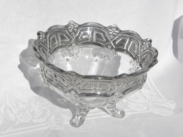 Vintage Crystal Thick Walled Silver Overlay Footed Console or Fruit Bowl - $36.99