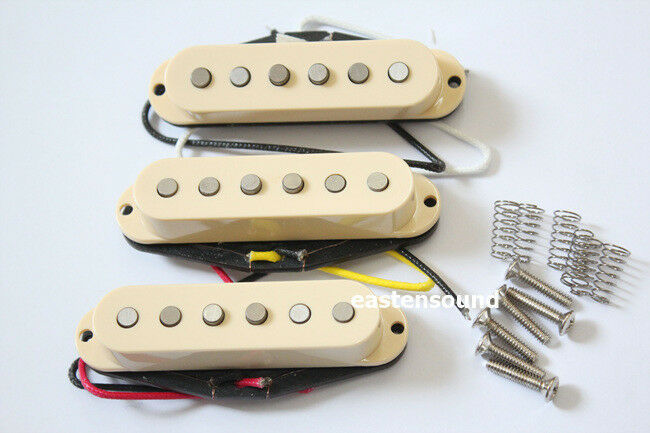 Primary image for Artec Alnico 5 Single Coil Strat Pickup Set Cream Cover From Korea