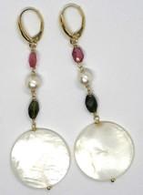 Drop Earrings Yellow Gold 18K 750, Tourmaline, Pearls, Nacre Disco image 2