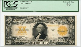 FR. 1187 1922 $20 Gold Certificate PCGS Extremely Fine 40 - $756.60
