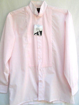 PASTEL PINK...PLEATED...TUXEDO SHIRT...NEW...sz MED - $9.99