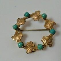 Vintage Stamped 1/20 12K GF - HG Turquoise / Leaves Brooch  - $44.55