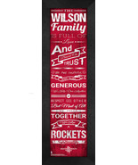"""Personalized Houston Rockets """"Family Cheer"""" 24 x 8 Framed Print - $39.95"""