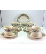Mikasa Riviera 205 Tea Coffee Cup and Saucer Set of 4 Ivory Black Scrolls - $25.74
