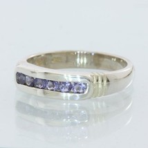 Blue Iolite Gemstone Unisex Gents Ladies Handmade Silver Channel Ring size 8.75 - £58.25 GBP