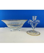 Canton Cut Crystal Bowl & Luli Heart Candlestick Candle Holder - $162.31