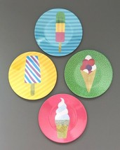 "Ice Cream Popsicle Melamine Appetizer Side Plates 6"" Set of 4 Beach Summ... - $24.63"