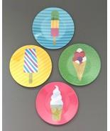 "Ice Cream Popsicle Melamine Appetizer Side Plates 6"" Set of 4 Beach Summ... - $24.63"