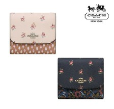 NWT COACH Small Trifold Wallet Floral Ditsy Print Card Case Zipper Coin ... - $61.38+