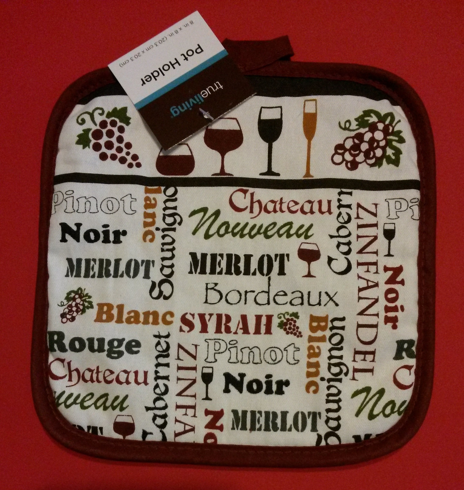 Wine lover Oven Mitt Set 2pc Potholder Merlot Red Types of Wines NEW